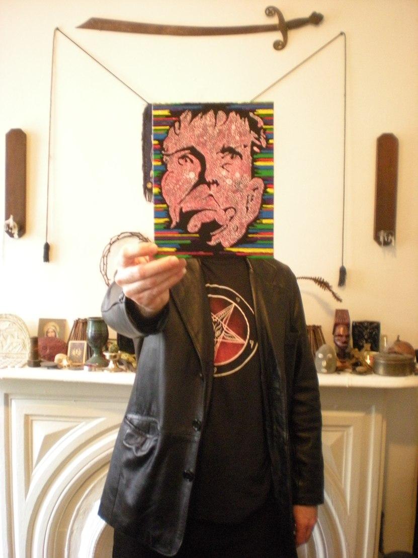 me holding WWJDD, acrylic, 2011