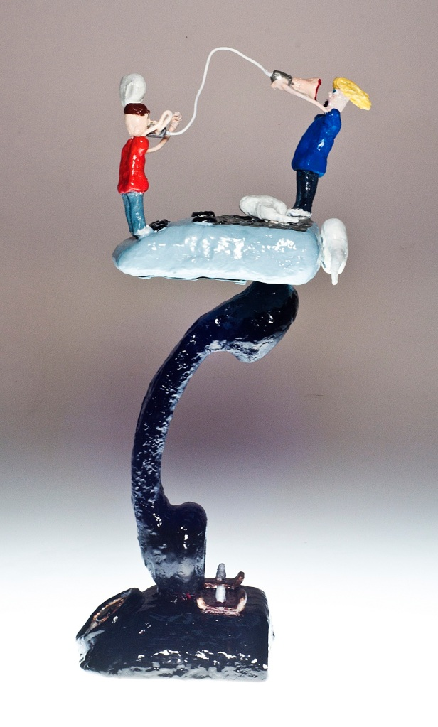 "Conversation Countdown I, 2012 ,Dustin Gramando, Urethane Plastic, Steel, and Enamel, 6""x6""x19"", $1000. (2)"