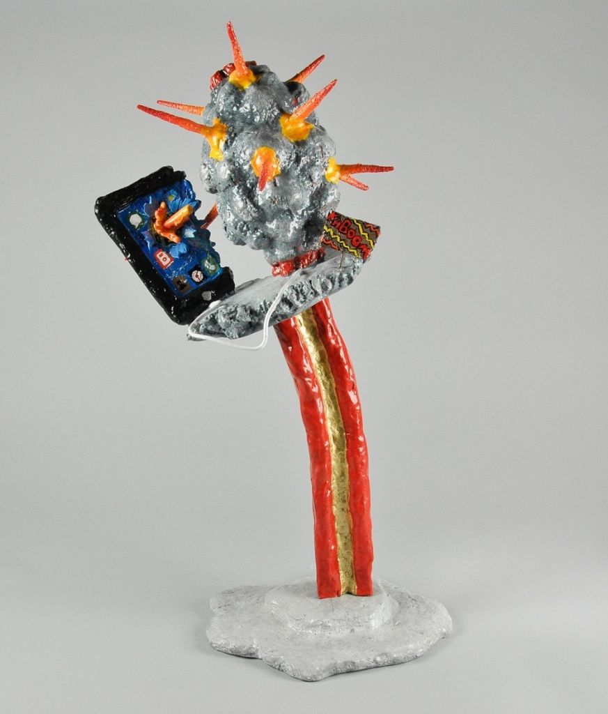 "Conversation Countdown II, 2012, Dustin Gramando, Urethane Plastic, Steel, and Enamel, 8""x7.5""x18"", $1000."