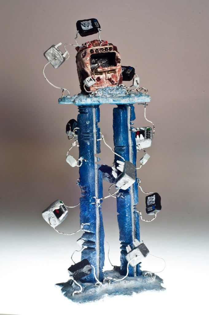 "Food For Thought II, 2012, Dustin Gramando Urethane Plastic, Steel, and Enamel, 8""x12""x25"", $1000."