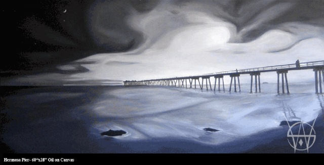 Hermosa Pier-60'x28' oil on canvas