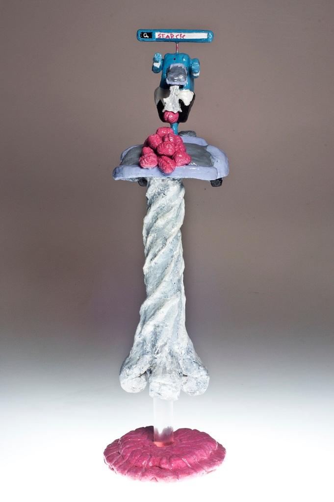 "Knowledge For Dummies II, 2012, Dustin Gramando Urethane Plastic, Steel, and Enamel, 7""x8""x22"", $1000."