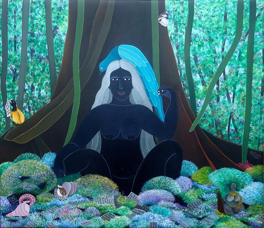 coal-goddess-2015-acrylic-on-canvas-33-x-37-collection-linda-miller