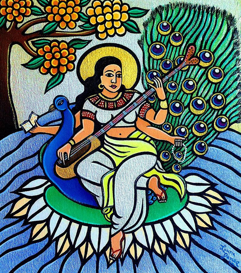 devi-saraswati-2011-acrylic-on-canvas-11-x-12-collection-murphy-heyliger