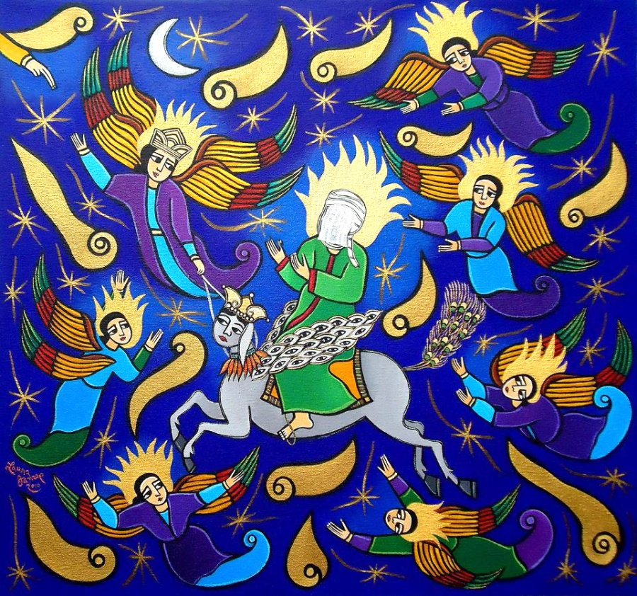 the-ascension-of-the-prophet-muhammed-into-heaven-2010-acrylic-on-canvas-23-x-25-collection-nick-manhart